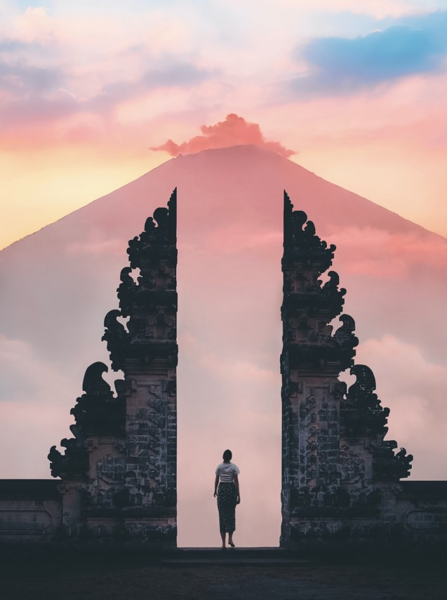 Sunset bali temple tourism